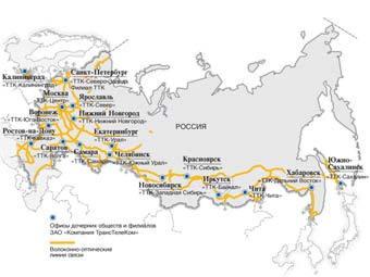 Сеть оптоволоконных кабелей компании ТТК на территории России.