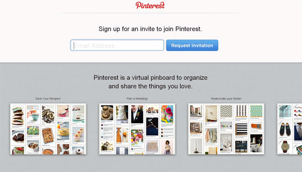 Скриншот сайта Pinterest