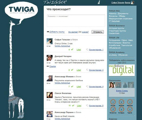 Скриншот интранет-сайта Twigger
