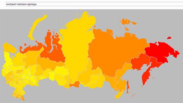 Региональная популярность на карте (более темные регионы — региональная популярность выше 100%):