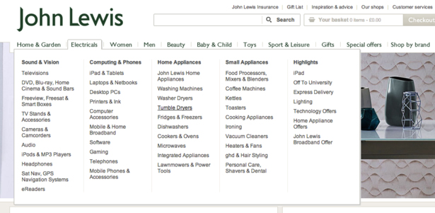 выпадающее меню на сайте John Lewis