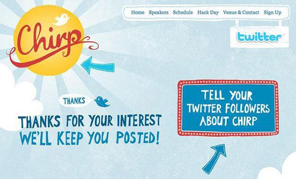 В этом примере Chirp просто говорит «спасибо» и предлагает клиентам рассказать о Chirp в Твиттере