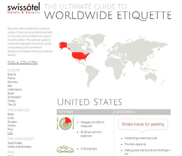 Всемирная карта этикета привлекает на сайт путешественников