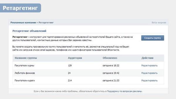 ВКонтакте предоставил рекламодателям новый инструмент настройки ретаргетинга