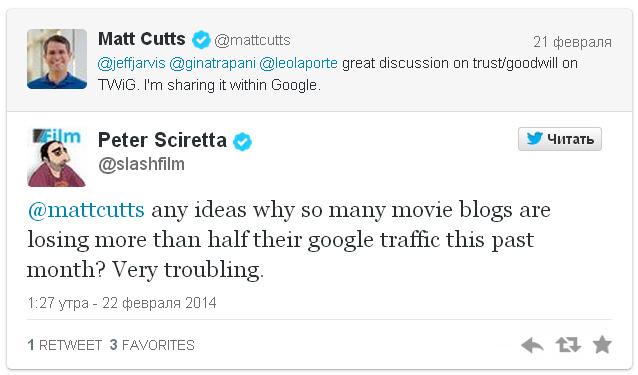 Google, предположительно, предпринимает санкции против блогов, посвящённых кино