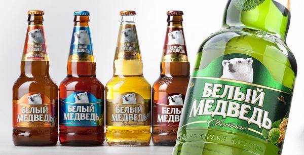Рестайлинг дизайна этикетки пива «Белый Медведь»