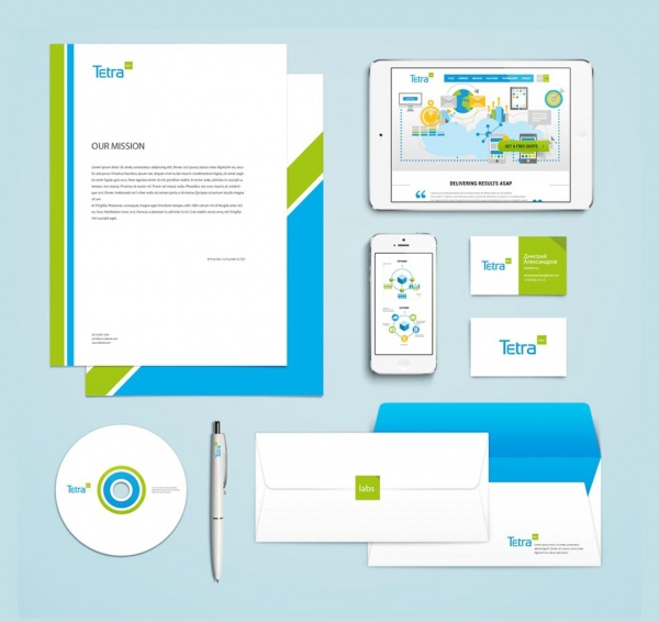 """Фирменный стиль для компании  """" Tetra Labs  """" Дизайн-студия «Clickcake» разработала фирменный стиль..."""