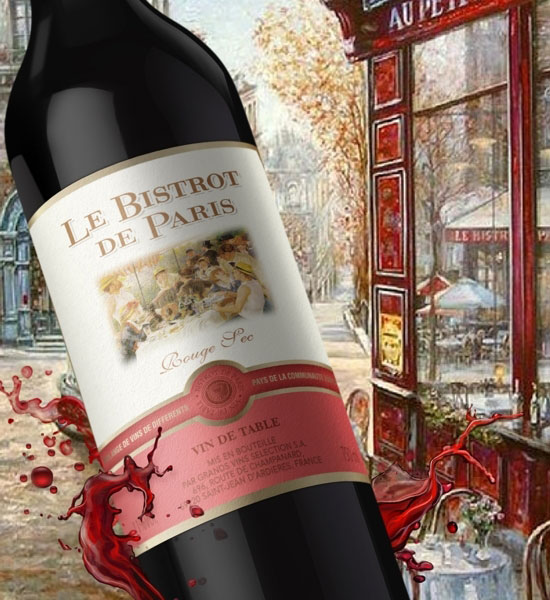"""Дизайн этикетки  французского вина """"Le Bistrot de Paris"""""""
