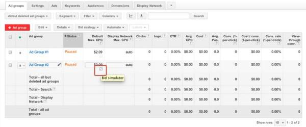 «Симулятор ставок» Google AdWords доступен для динамических поисковых объявлений