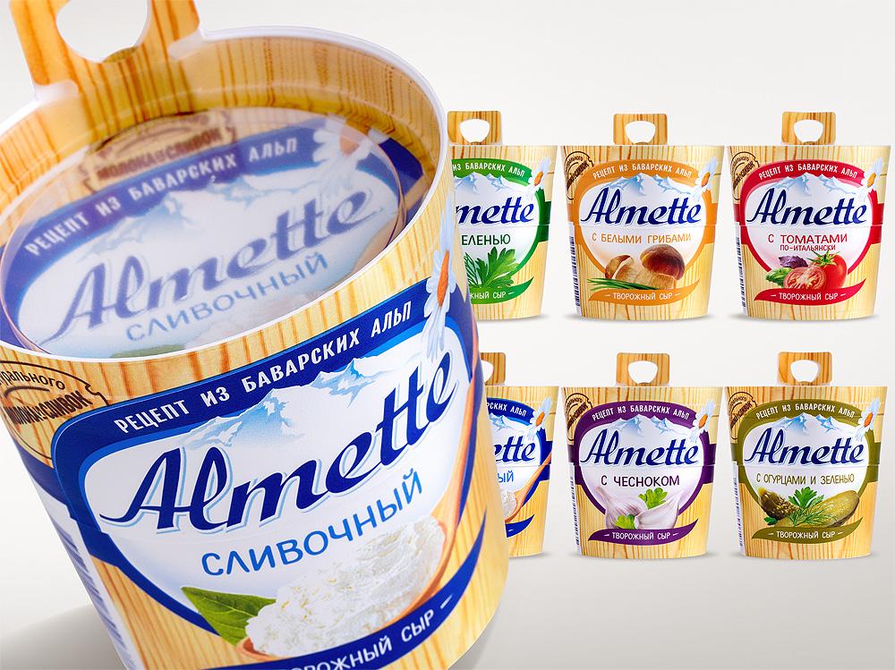 новый дизайн упаковки творожных сыров Almette