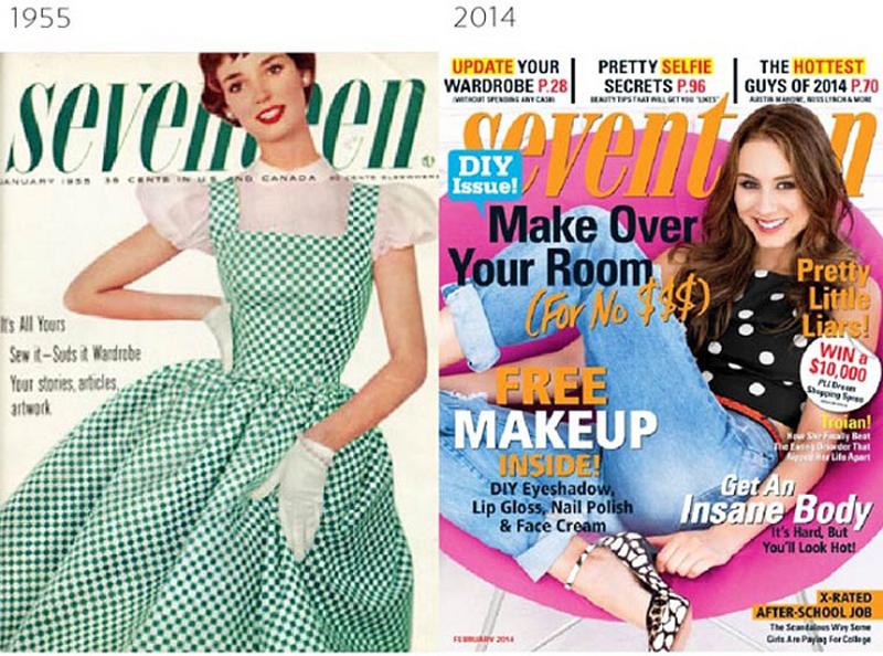 Эволюция модного глянца  как изменились обложки журналов за последние 100  лет. ded14943839