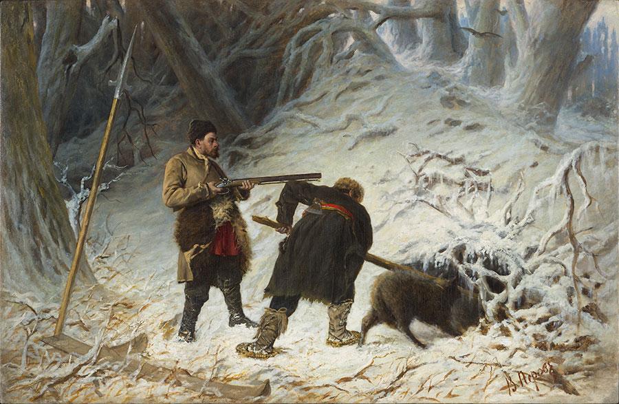Перов Охота на медведя зимой