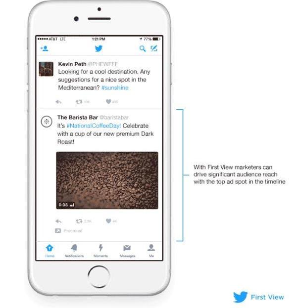 Twitter запустил новый рекламный формат First View.