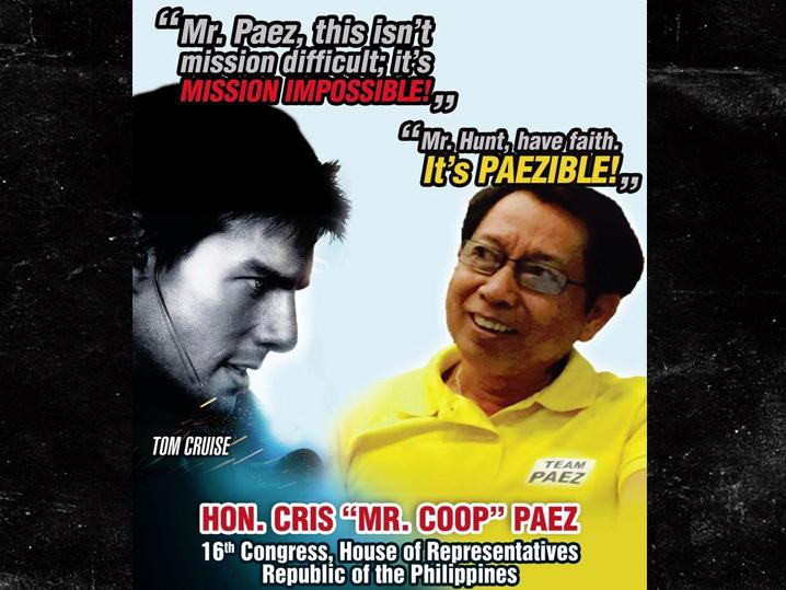 Образ Тома Круза использован в политической кампании на Филиппинах.