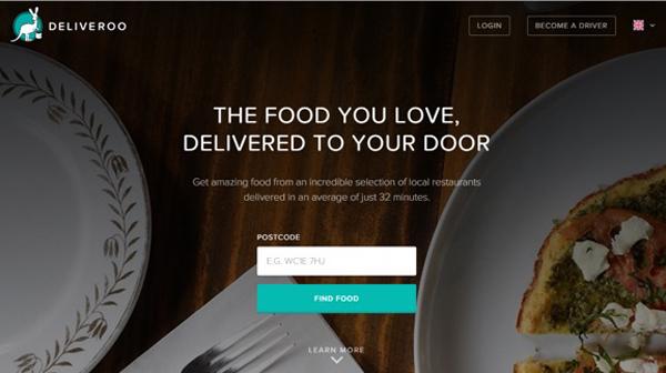 Призыв Deliveroo «Найти еду» (Find food).
