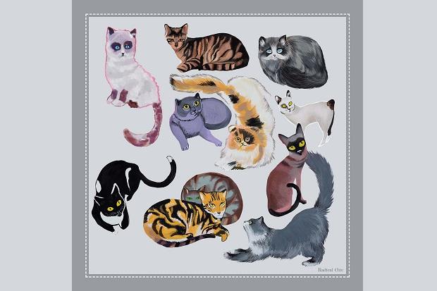 Платок, посвященный котикам из Интернета.
