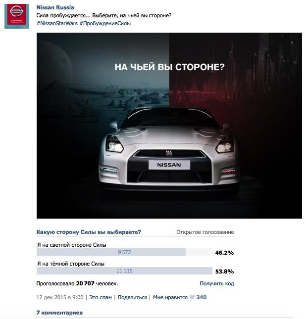 Соцмедиа-продвижение Nissan в России.