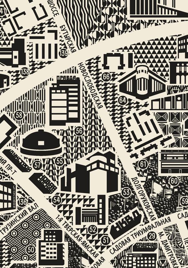 Первая агитационная карта конструктивистской Москвы от МКАДа и до МКАДа.
