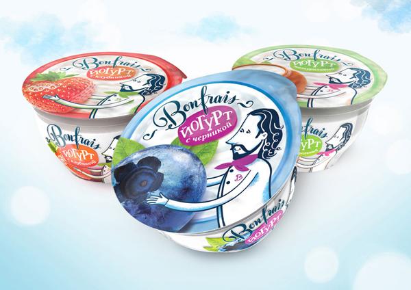 Дизайн упаковки натурального и ягодных йогуртов Bonfrais.
