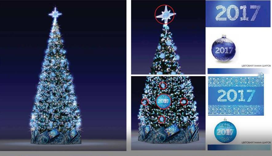 Примеры декорирования новогодних елей.