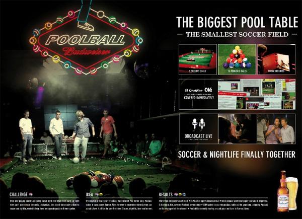 """Нестандартная реклама """"Poolball"""", бренд: Budweiser, агентство: Ogilvy Argentina"""